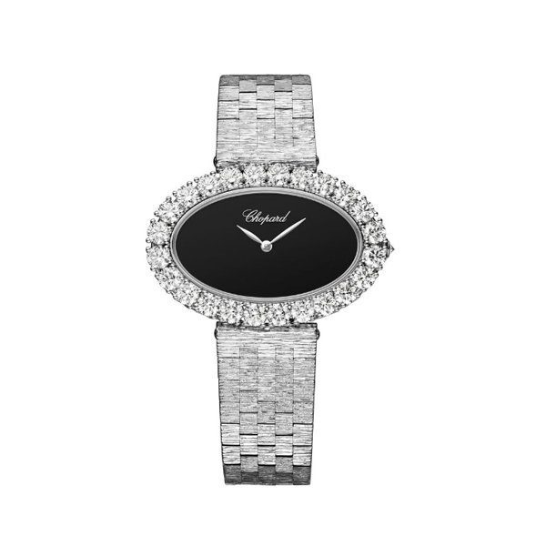 CHOPARD L'HEURE DU DIAMANT MEDIUM OVAL QUARTZ 18K WHITE GOLD LADIES WATCH REF. 10A376-1008