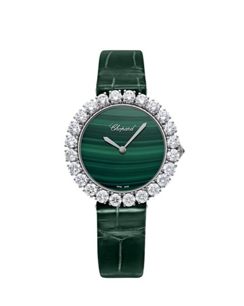 CHOPARD L'HEURE DU DIAMANT 35.75MM WHITE GOLD DIAMOND MALACHITE DIAL LADIES WATCH REF. 13A419-1001