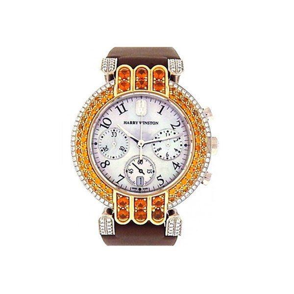 HARRY WINSTON PREMIER CHRONOGRAPH WHITE GOLD DIAMOND & ORANGE STONES BEZEL LADIES WATCH REF. 200MCQB37WG