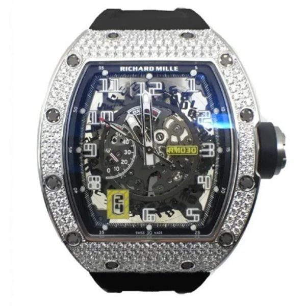 Richard Mille Pre-owned White Gold Full Pave Diamond Men's Watch