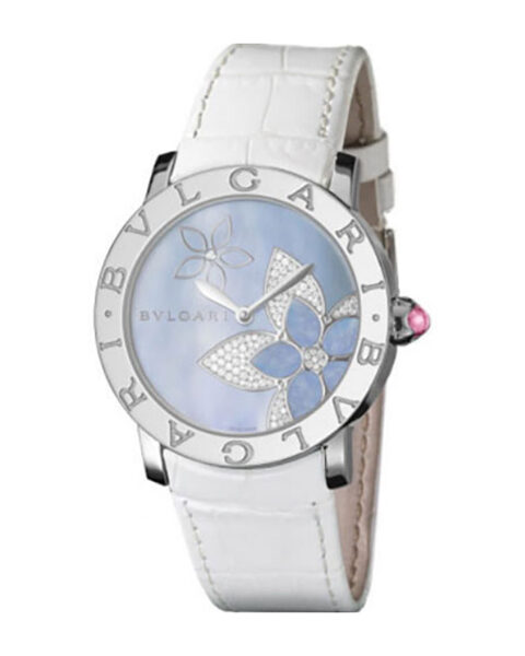 Bvlgari Pre-owned 37mm Stainless Steel Blue Mother Of Pearl Dial Ladies' Watch