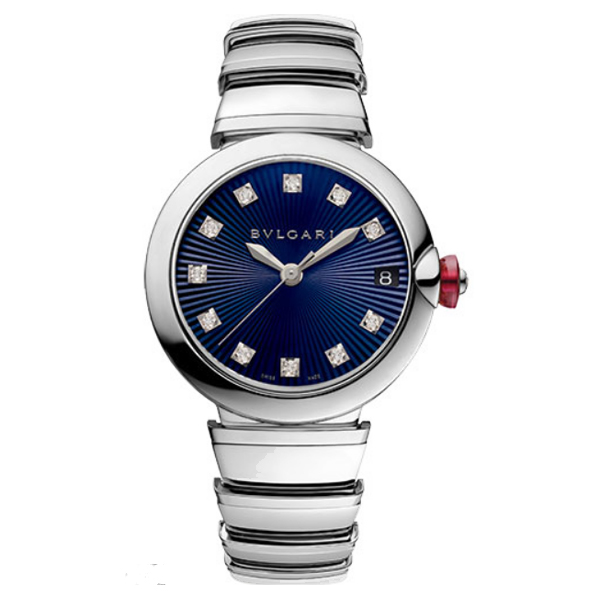 BVLGARI LVCEA 33MM STAINLESS STEEL BLUE DIAMOND DIAL LADIES WATCH REF. 102564