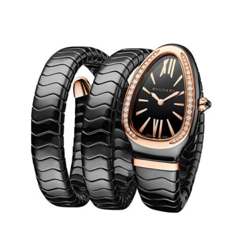 BVLGARI SERPENTI SPIGA 35MM BLACK CERAMIC ROSE GOLD DIAMOND BEZEL REF. 102885