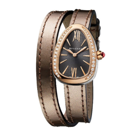 BVLGARI SERPENTI 27MM STAINLESS STEEL & 18K ROSE GOLD DOUBLE SPIRAL ANTIQUE BRONZE LEATHER STRAP REF. 102968