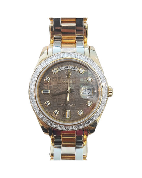 ROLEX OYSTER PERPETUAL DAY-DATE 39MM DIAMOND SET DARK MOP DIAL LADIES WATCH REF. 18958