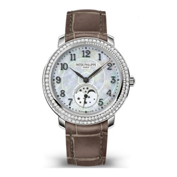 Patek Philippe Pre-Owned Complications Hand Wind White MOP Dial Ladies Watch Ref. 4968G-010