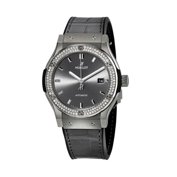 HUBLOT CLASSIC FUSION RACING GREY DIAMOND GREY SUNBLAST DIAL MEN'S WATCH REF. 542.NX.7071.LR.1104