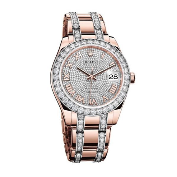 ROLEX OYSTER PERPETUAL PEARLMASTER 39MM DIAMOND PAVE DIAL WOMEN'S WATCH REF. 86285
