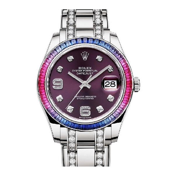 ROLEX OYSTER PERPETUAL DATEJUST PEARLMASTER 39MM RED GRAPE DIAL WOMEN'S WATCH REF. 86349