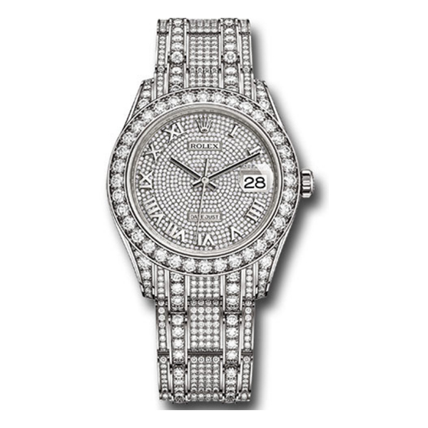 ROLEX WHITE GOLD OYSTER PERPETUAL PEARLMASTER 39MM FULL DIAMONDS LADIES WATCH REF. 86409RBR