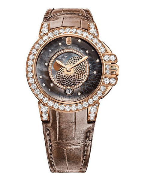 Harry Winston Pre -owned Ocean Lady Brown Leather Strap Rose Gold Ladies Watch