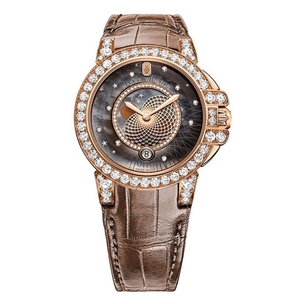 HARRY WINSTON OCEAN LADY BROWN LEATHER STRAP ROSE GOLD LADIES WATCH REF. OCEQMP36RR026