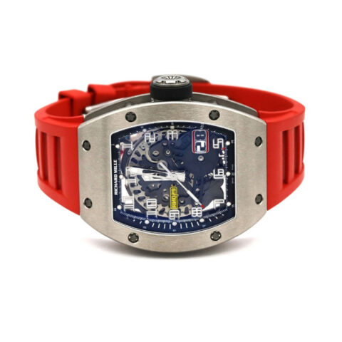 RICHARD MILLE AUTOMATIC OVERSIZE DATE ROSE GOLD RED RUBBER STRAP MEN'S WATCH REF. RM029