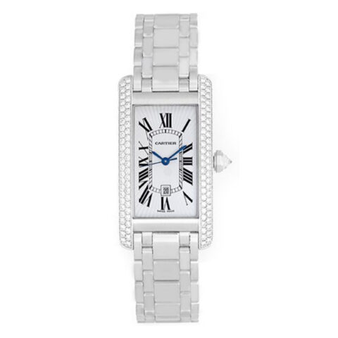 CARTIER TANK AMERICAINE 18K WHITE GOLD FACTORY DIAMOND BEZEL LADIES WATCH REF. WB7026L1