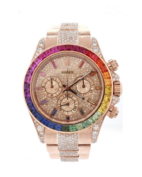 ROLEX DIAMOND COSMOGRAPH DAYTONA RAINBOW COLORED BAGUETTE BEZEL ROSE GOLD MEN'S WATCH REF. 116505