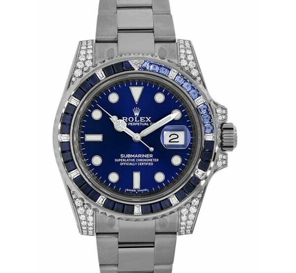 Rolex Pre-owned Submariner Date White Gold Diamond Sapphire 40mm Men's Watch
