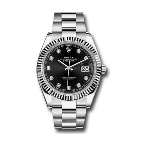 ROLEX DATEJUST 41MM BLACK DIAMOND DIAL ,STEEL AND WHITE GOLD OYSTER MEN'S WATCH REF. 126334 BKDO