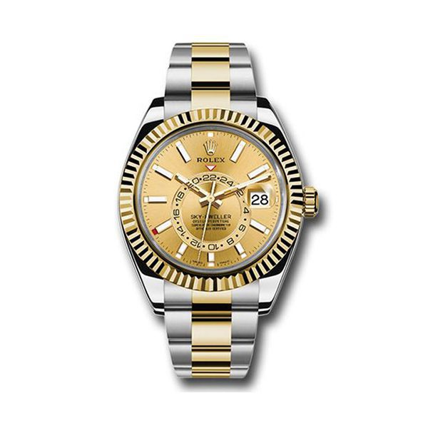 ROLEX OYSTER PERPETUAL SKY DWELLER CHAMPAGNE INDEX DIAL - OYSTER BRACELET WATCH REF. 326933 CH