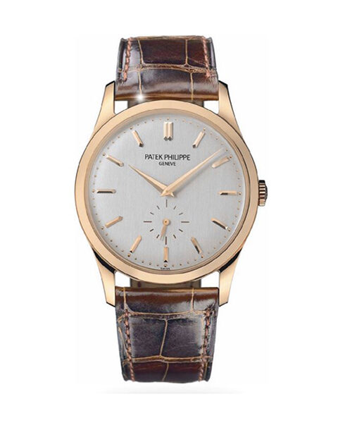 PATEK PHILIPPE CALATRAVA SILVER DIAL 18K ROSE GOLD MEN'S WATCH REF. 5196R-001