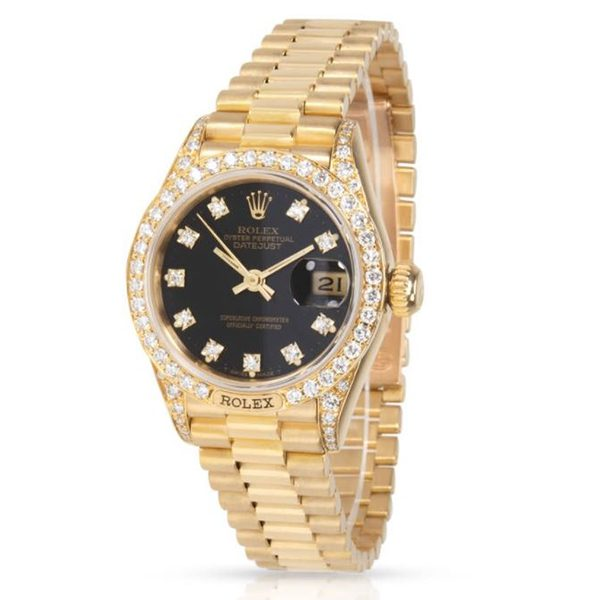 ROLEX OYSTER PERPETUAL DATEJUST 26MM LADIES WATCH REF. 69158 BLACK DIAL