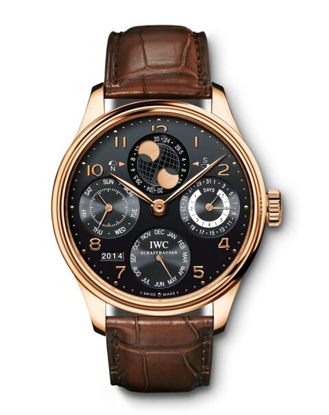 IWC SCHAFFHAUSEN PORTUGIESER PERPETUAL CALENDAR 18KT ROSE GOLD 44MM MEN'S WATCH REF IW503202