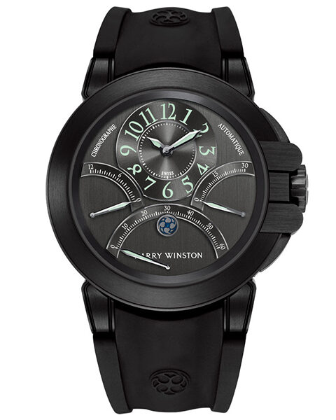 HARRY WINSTON OCEAN TRIPLE RETROGRADE CHRONOGRAPH AUTOMATIC ZALIUM BLACK DLC BLACK DARK DIAL REF. OCEACT44ZZ003