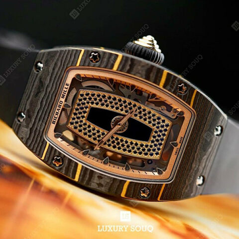 Richard Mille Pre-owned Gold Carbon TPT Onyx Dial Set With Black Sapphires Men's Watch