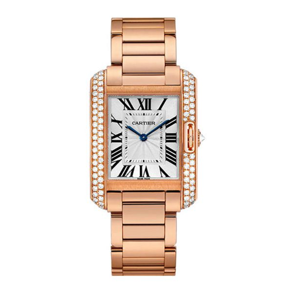 CARTIER TANK ANGLAISE 34.7MM PINK GOLD CASE LADIES WATCH REF. WT100027
