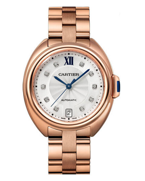 Cartier Pre-owned Cle De Cartier 35mm Pink Gold Silver Diamond Dial Ladies Watch