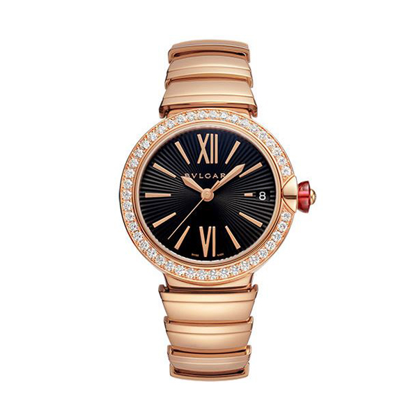 Bvlgari Pre-owned Lvcea Rose Gold And Diamond 33mm Ladies' Watch