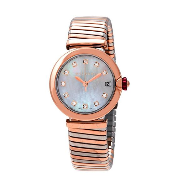 Bvlgari Pre-owned Lvcea Tubogas Mother Of Pearl Diamond Dial 33mm Ladies Watch