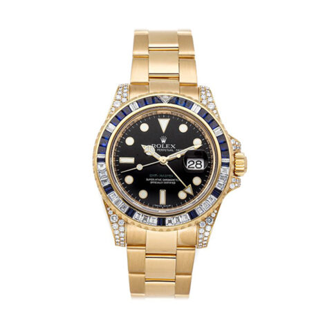 Rolex GMT Master ll Full Gold with Diamonds & Sapphire Men's Watch