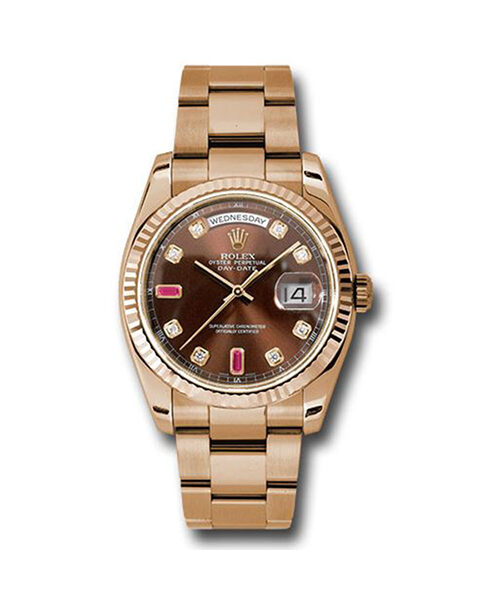 ROLEX Pre-Owned Oyster Perpetual Day-Date 36mm Rose Gold Men's Watch