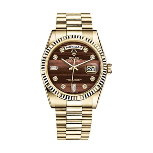 Rolex Pre-Owned Day-Date 36 Brown Diamond Dial Yellow Gold Watch