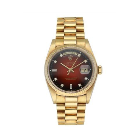 Rolex Oyster Perpetual Day-Date 36mm Red Vignette Diamond Dial Men's Watch
