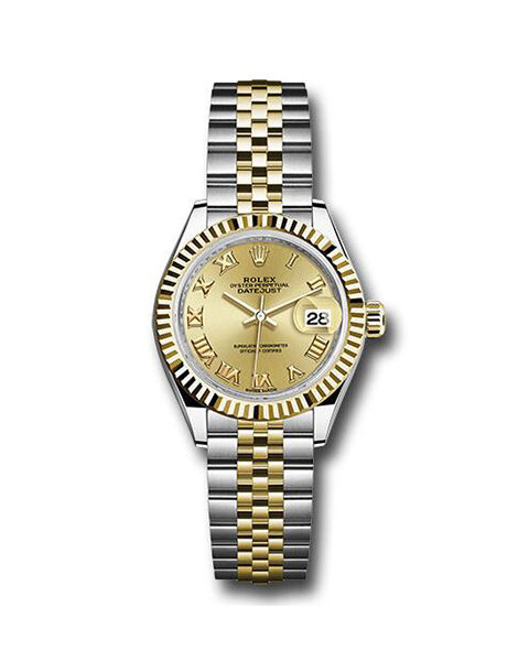 ROLEX Pre-Owned Oyster Perpetual DateJust 28mm Steel and Gold Ladies Watch