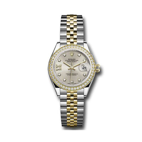ROLEX DATEJUST 28MM STAINLESS STEEL AND YELLOW GOLD LADIES WATCH