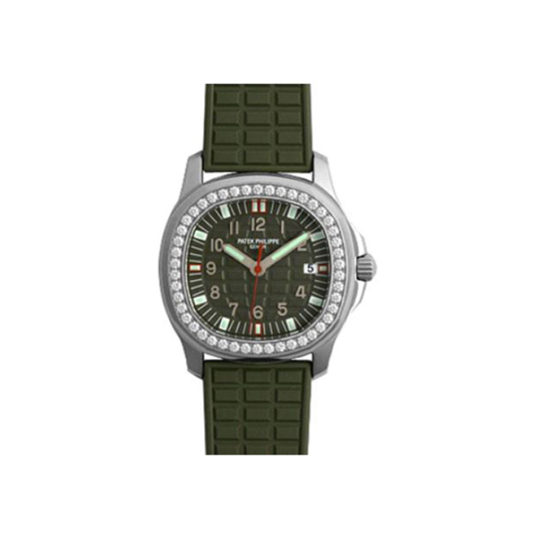 Patek Philippe Pre-Owned Lady's Aquanaut Luce Steel On Green Rubber Strap Ref. 5067A 013