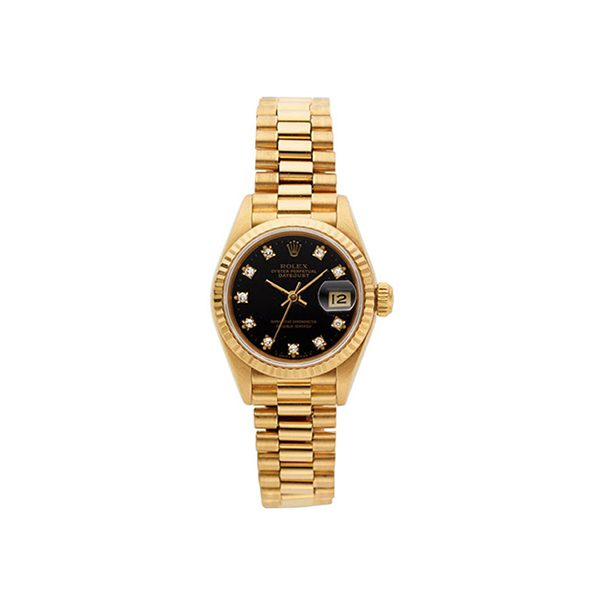 ROLEX LADY'S DIAMOND DIAL GOLD OYSTER PERPETUAL DATEJUST 26MM LADIES' WATCH REF. 69178