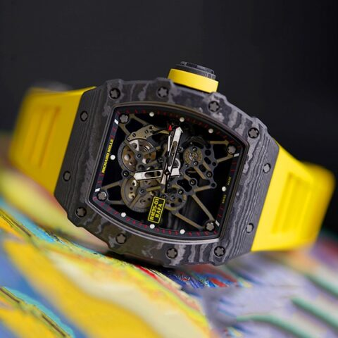RICHARD MILLE Pre-Owned RM35-01 RAFA Black Forge Carbon Case On Yellow Rubber Strap Men's Watch
