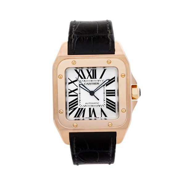 Cartier Pre-Owned Santos 100 18kt Rose Gold Automatic Men's Watch