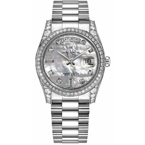 Rolex Day-Date 36 White Gold White Mother of Pearl Diamond Dial Men's Watch