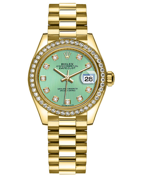 Rolex Pre-owned Lady-Datejust 28 Oyster Perpetual Mint Green Diamond Dial Watch