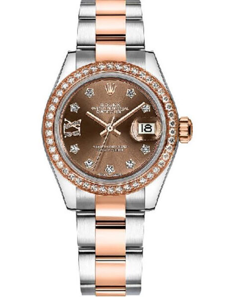 Rolex Pre-owned Lady Datejust 28 Rose Gold/steel Chocolate Diamond IX Dial Watch