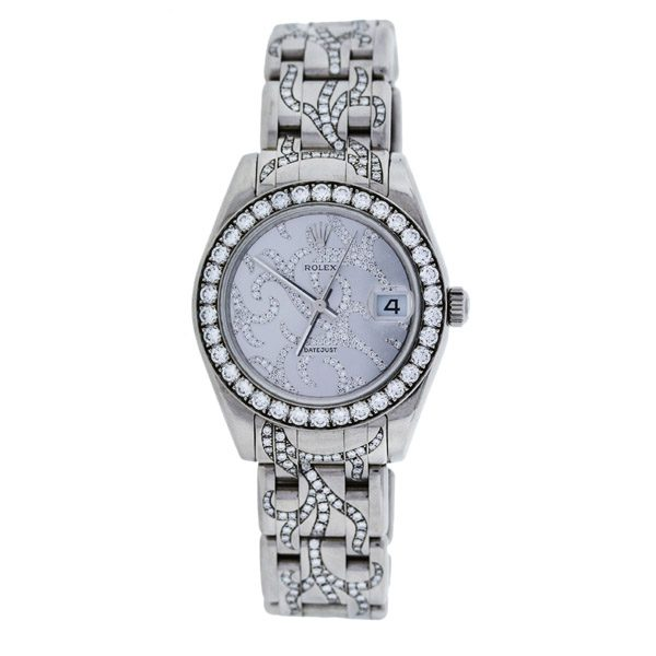 Rolex Pre-owned Pearlmaster Midsize 81299 White Gold Diamond Pave Flamme Watch