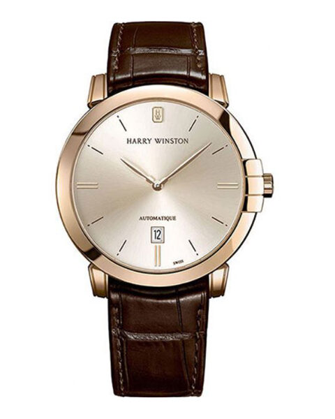 Harry Winston Pre-owned Midnight 18K Rose Gold Leather Men's Watch