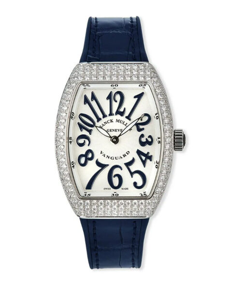 Franck Muller Pre-Owned Vanguard Stainless Steel Diamond Pave Watch
