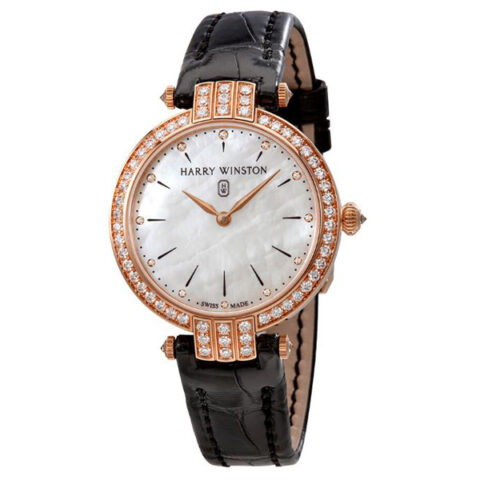Harry Winston Pre-owned Premier White Mother Of Pearl Dial Ladies Watch