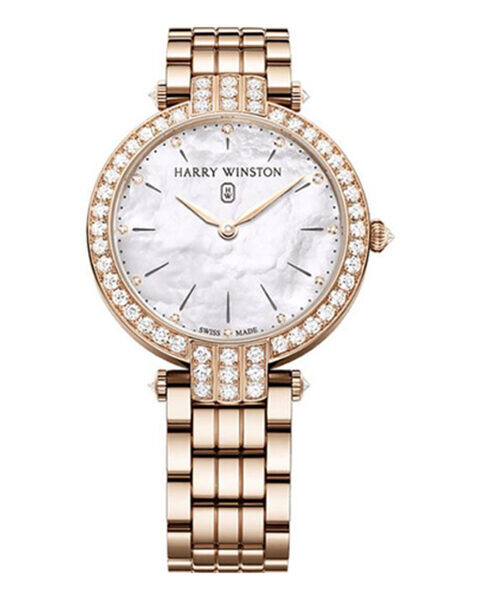 Harry Winston Premier Mother of Pearl Diamond Dial Ladies 18k Rose Gold Watch