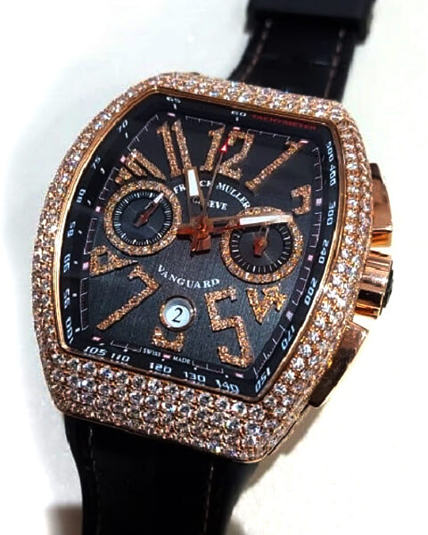Franck Muller Pre-Owned Vanguard Chronograph RG with Diamonds Watch